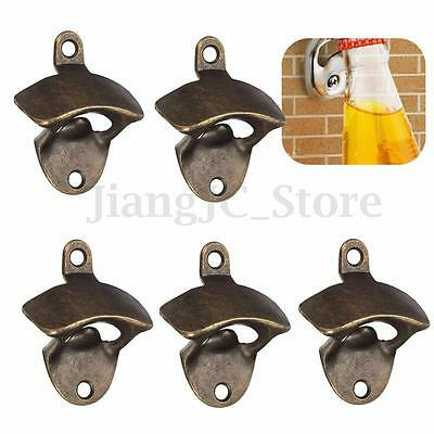 5pcs Metal Wall Mounted Kitchen Bar Pub Beer Soda Glass Cap Bottle Opener Tool