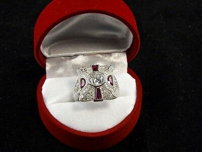Stunning Vintage Art Deco Style Ruby & Clear Tourmaline Sterling Silver Ring
