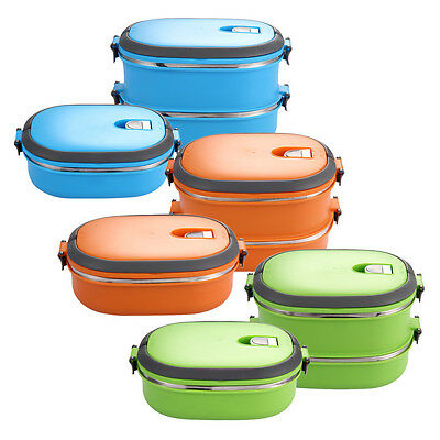 Stainless Steel Thermal Insulated Lunch Box Bento Food Container Handle 1/2Layer