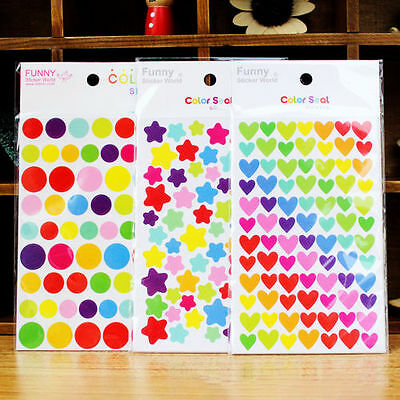 6pcs Rainbow Sticker Diary Planner Journal Scrapbook Ablums Decorative Tool CA