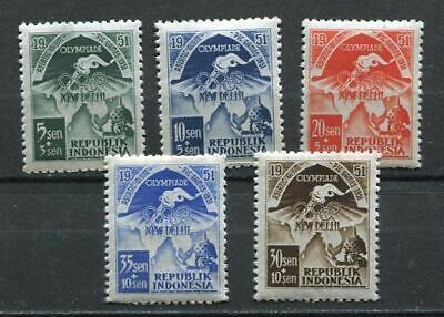 38132) INDONESIA 1951 MNH** Asian Olympic G. 5v.