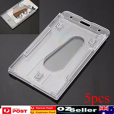 5pcs 10 x 6cm Clear Vertical Hard Plastic Badge Holder Double Card ID Slot