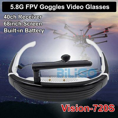 """Vision-720S 68"""" LCD Display 3D HD Video Glasses 5.8G 40CH Wireless FPV Goggles"""