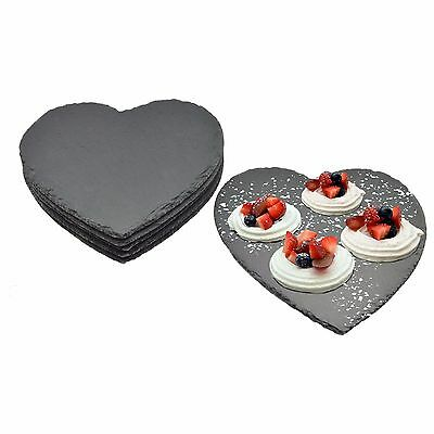 Argon Tableware Heart Shape Natural Slate Plates / Platters - Set Of 6