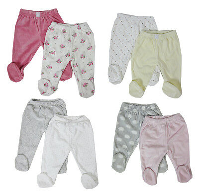 Baby Girls Boys 2 Pack Crawlers Bottoms With Closed Feet - Soft Velour Fabric