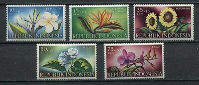 38146) INDONESIA 1957 MNH** Flowers 5v