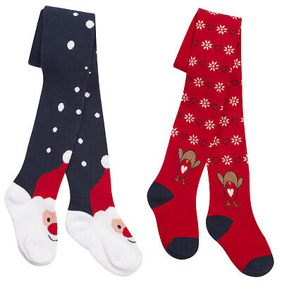 Girls / Childrens Cotton Rich Novelty Christmas Tights ~ 2-8 Years