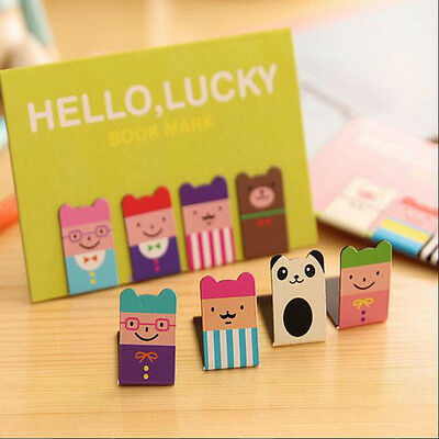 New 4Pcs Bookmarks Note Pad Memo Stationery Book Mark Novelty Funny Gift Chic