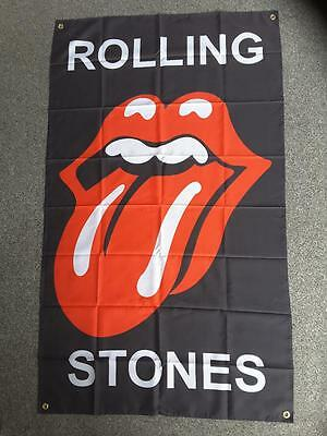 ROLLING STONES FLAG 3 x 5ft - 96cm x 144cm BAR FLAG WITH GROMMETS AND SEALED