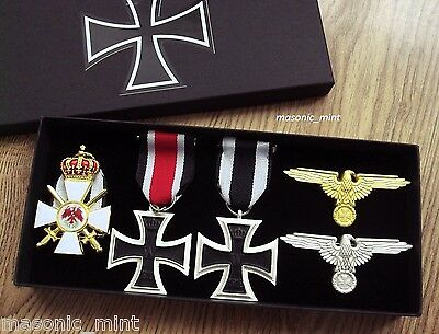 German Repro Medals & Cap Badge Collection, Perched Eagle / Iron Cross
