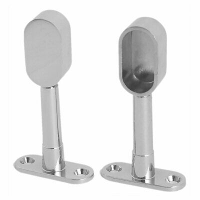 Wardrobe Metal Oval Pipe Wall Mounted Clothes Lever Bracket 2pcs