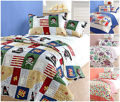 Childrens Bed Throws / Comforter Bedspreads Single Bed Bedding Quilted