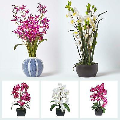 Artificial Pink & White Dendrobium Orchid in a Round Blue and White Vase
