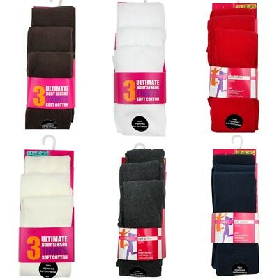 Girls Ex M-S 3 Pack Tights Body Sensor Soft Cotton Tights Various Colours/Sizes