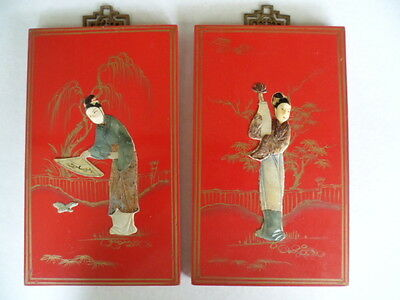 Antique vintage old Chinese red lacquer pearl shell pictures lady with fan vase