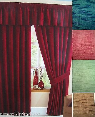 Eyelet Ring Top Curtains Stamford Heavy Thick Plain Slub Chenille Fully Lined