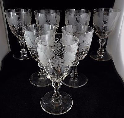 Seven Antique Early Crystal Water Goblets Multi-Faceted Bowl Grapevine Motif