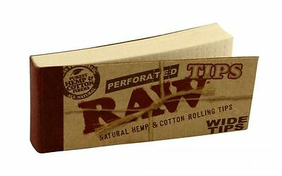 Raw Tips Perforated Wide Rolling Filter Tips natural hemp cotton (1/5/10/50)pcs