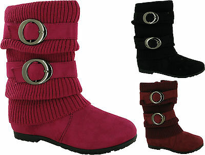 Infant Girls Flat Full Zip Buckled Mid Calf Winter Smart School Boots Uk Sizes
