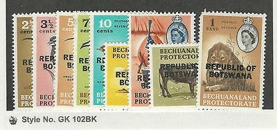Botswana, Postage Stamp, #7//17 Mint NH (9 Different), 1966