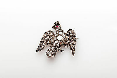 Antique 1700s 3ct Old Mine Cut Diamond Ruby BIRD Sterling Silver Brooch Pin RARE