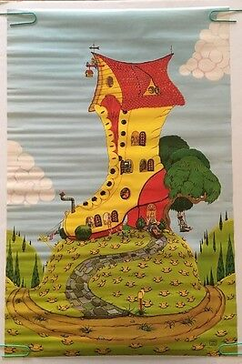 Vintage Poster The Old Lady In The Shoe Children's Pin-up Nursery Rhyme 1970's