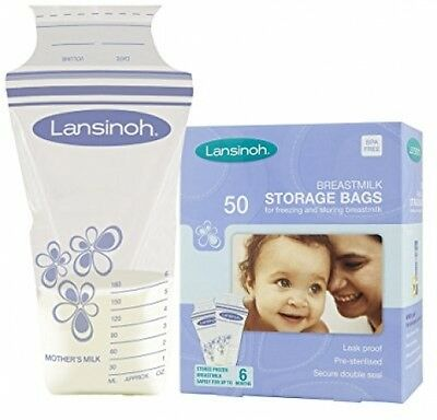 Breast Milk Storage Bags Freezer Lansinoh Baby Leak Proof Secure Seal 50 Pieces