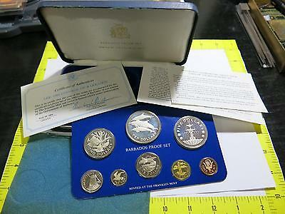 Barbados 1984 Silver Proof Set Key Date Rare Issue Dolphins Franklin Mint World