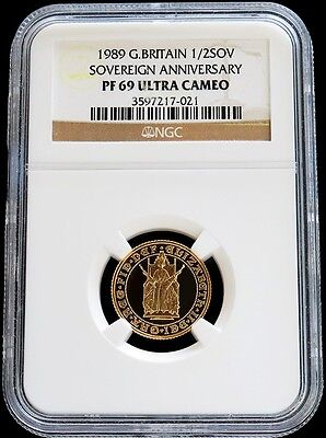 1989 Gold Great Britain Half Sovereign Anniversary Coin Ngc Proof 69 Ultra Cameo