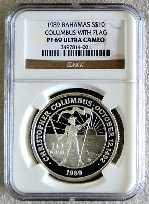 1989 Silver Bahamas $10 Columbus With Flag & Sword Raised Coin Ngc Proof 69 Uc