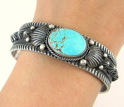 DARRYL BECENTI Navajo Hand Stamped Sterling Silver Turquoise Cuff Bracelet | J