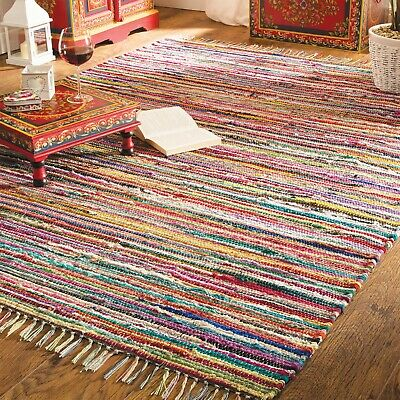 Fair Trade Rag Rug Indian Recycled Handloom Cotton Chindi Braided Soft Mat Boho