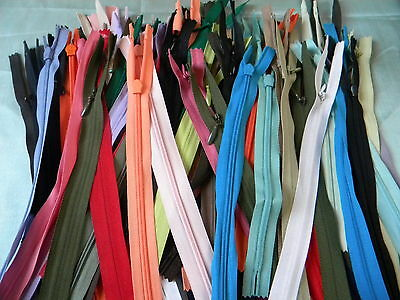 """50 Pcs 4""""~23""""Invisible Zippers Assorted Color Ykk+Other"""