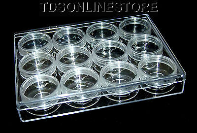 Medium Size Plastic Storage Box With 12 Clear Jars With Screw On Lids