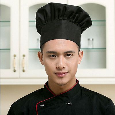 Black Chef Hat Baker Adjustable Elastic Cap Cooking Baker Kitchen Restaurant