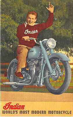 Springfield MA Indian Motorcycle Advertising Linen Postcard