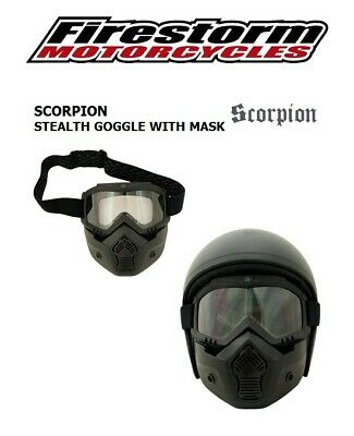 Scorpion Stealth Black Motorcycle Goggles With Face Mask Suits Open Face Helmet