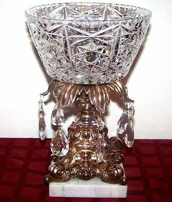 Vintage ABP Ornate Cut Glass Compote Candy Bowl Brass Marble Stand Prisms