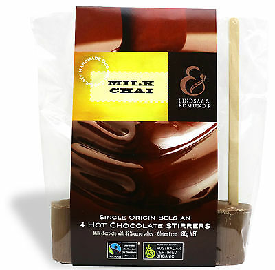 Chai Hot Chocolate Stirrers in Milk Belgian Organic Single Origin Chocolate