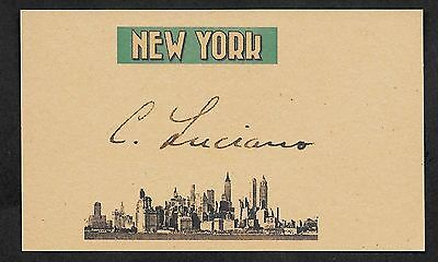 Charles Lucky Luciano Autograph Reprint On Original Period 1930s 3X5 Card