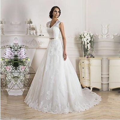 White Ivory Wedding Dress Bridal Gown Size : 4 6 8 10 12 14 16 18 ++