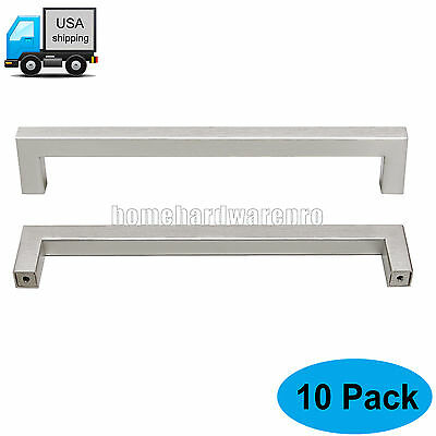 10Pcs 7.5'' Square Brushed Stainless Steel Kitchen Cabinet/Cupboard Handle Pulls