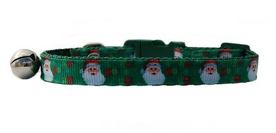 "Christmas green pink "" Santa "" safety kitten cat collar 3 sizes"