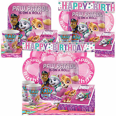 Pink Paw Patrol Complete Birthday Party Pack Tableware Kits - For 8 or 16 Guests