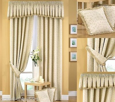 Folia Traditional Heavy Thick Floral Pencil Pleat Curtains Fully Lined Cream