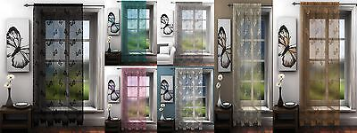 Traditional Butterfly Lace Net Voile Window Curtain Panel Or Sets Plain Slot Top