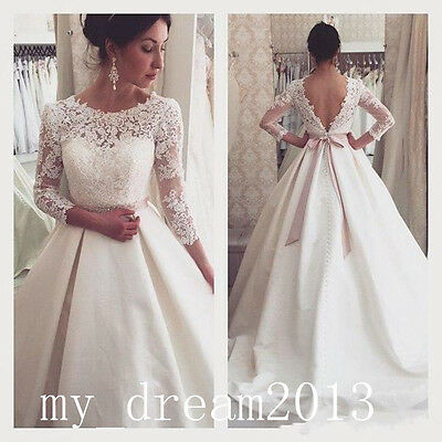 New 3/4Sleeves Wedding Dresses Lace Bridal Gown Prom Ball Quinceanera Deb Custom