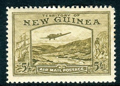 AUSTRALIA NEW GUINEA- 1939 5/- Olive Brown.  A fine unmounted mint Sg 223