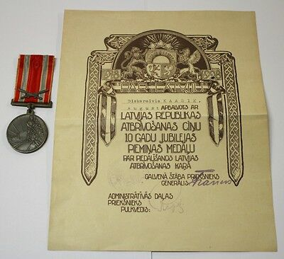 Latvia Estonia Independence War 10th Anniversary Medal Certificate Document 1928