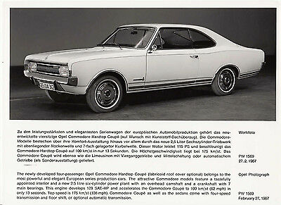 Opel Commodore Hardtop Coupe Period Photograph.